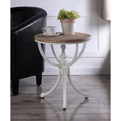 Natural Top with White Metal Base Accent Table