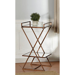 2-Tiered Glass with Gold Metal Frame Accent Table