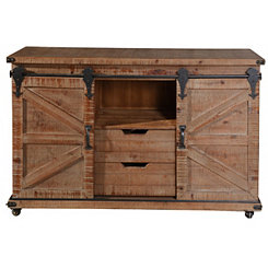 Natural Fir Rolling Barn Door Cabinet with Casters