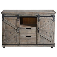Gray Fir Rolling Barn Door Cabinet with Casters