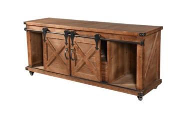 Rustic Fir Wood Natural Barn Door Media Cabinet