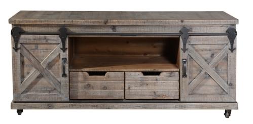 Rustic Fir Wood Gray Barn Door Media Cabinet