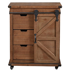 Rustic Natural Fir Wood Rolling Barn Door Cabinet