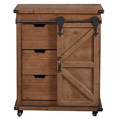 Rustic Natural Fir Wood Rolling Barn Door Cabinet
