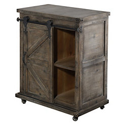 Rustic Gray Fir Wood Rolling Barn Door Cabinet