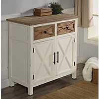 Farmhouse Natural Top X-Cross Doors White Cabinet