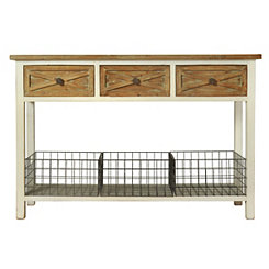 Natural Top 3-Drawer Wire Basket Console Table