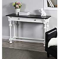 Dark Top 2-Drawer White Base Console Table