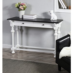 2d77c7d0d6a4 Dark Top 2-Drawer White Base Console Table