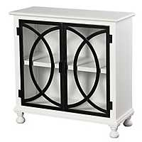 Double Circle White and Black 2-Door Cabinet