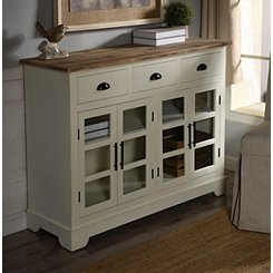 Natural Top with Glass Doors White Console Table