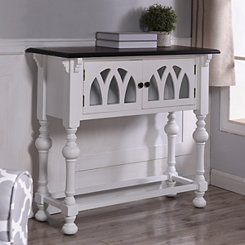 Arabella Cathedral 2-Door White Console Table