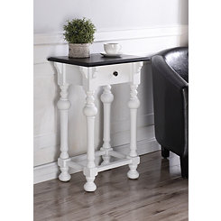 Arabella Dark Top with White Base Accent Table