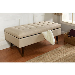 Cream Tufted Storage Bench with Espresso Legs