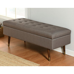 Gray Tufted Storage Bench with Espresso Legs
