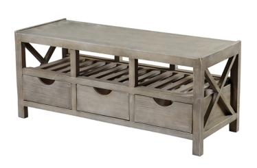 Beadboard 3-Drawer White Storage Bench