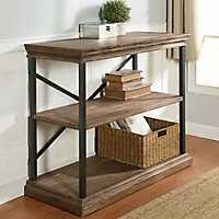 Wood 3-Tier Bookshelf with Black Steel Frame