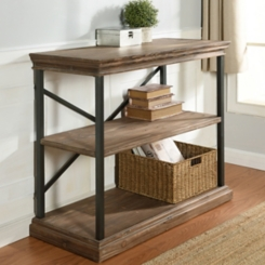 Wood 3-Tier Bookshelf with Black Steel Frame