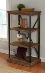 Wood 4-Tier Bookshelf with Black Steel Frame