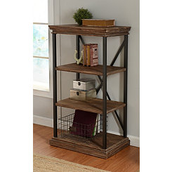 Wood 4-Tier Bookshelf with Black Steel Frame