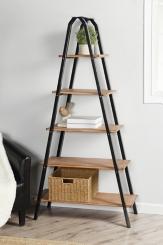 Five Tier Metal Frame Ladder Bookshelf