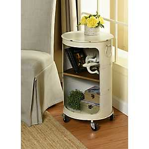 Antique White Round Rolling Metal Accent Table