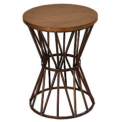 Tapered Wood and Metal Geometric Accent Table
