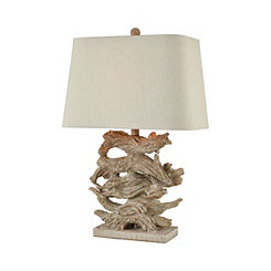 Stone Stacked Driftwood Table Lamp