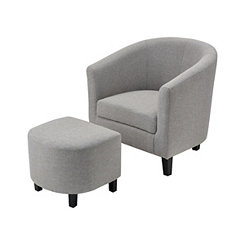 Elaine Gray Linen Chair with Ottoman Set