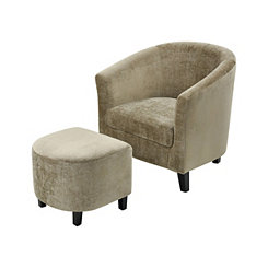 Elaine Mink Velvet Chair with Ottoman Set