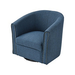 Aria Navy Linen Swivel Accent Chair