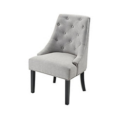 Halsey Diamond Tufted Gray Linen Accent Chair