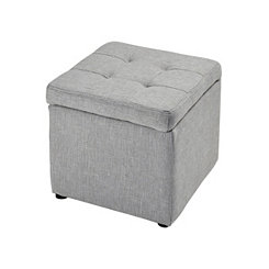 Marley Gray Linen Storage Ottoman with Tufted Lid
