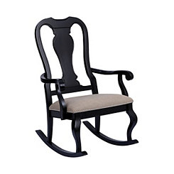 Black Panel Back Natural Linen Seat Rocking Chair