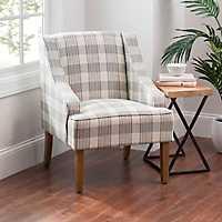 Gray Plaid Dillon Accent Chair