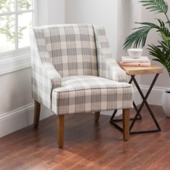 Gray Plaid Dillon Accent Chair