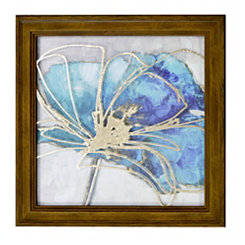 Teal Floral I Metallic Printed Glass Framed Print