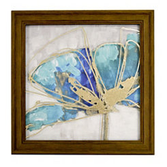 Teal Floral II Metallic Printed Glass Framed Print