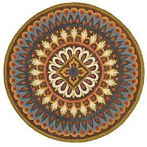 Darla Floral Medallion Round Area Rug, 6 ft.