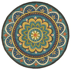 Darla Blooming Medallion Round Area Rug, 6 ft.
