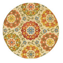 Floral Suzani Round Area Rug, 4 ft.