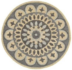 Darla Neutral Fleur Round Area Rug, 4 ft.