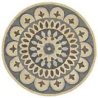 Darla Neutral Fleur Round Area Rug, 6 ft.