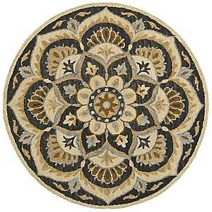 Neutral Blooming Medallion Area Rug, 6 ft.