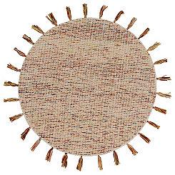 Autumn Woven Tassel Round Area Rug, 4 ft.