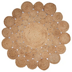 Jute Modern Floral Round Area Rug, 4 ft.