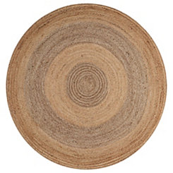 Jute Concentric Circle Round Area Rug, 4 ft.