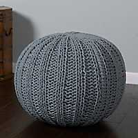 Aluminum Cable Knit Pouf