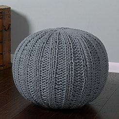 Aluminum Cable Knit Pouf