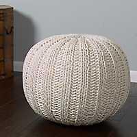 Ivory Cable Knit Pouf